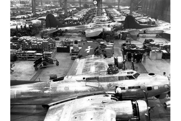 Taken in June 1945, this aerial view shows the effectiveness of the camouflage that covered Boeing's enormous Plant 2. Photo: Boeing Historical Archive.