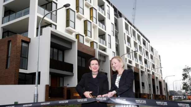 The first residential precinct of Harold Park was officially opened on Thursday by Sydney lord mayor Clover Moore and Mirvac CEO and managing director Susan Lloyd-Hurwitz. Photo: Quentin Jones