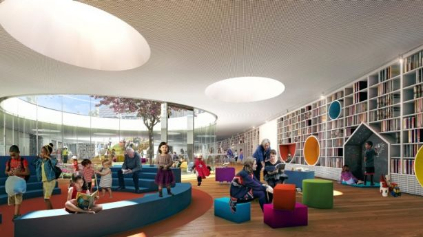 An artist's impression of the underground library planned for the Green Square Town Centre. Photo: Sydney Council