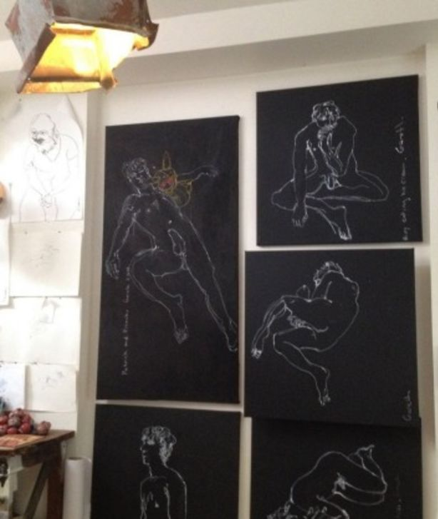 Gareth Ernst displayed his drawings of undraped male figures among other artworks as part of the Mardi Gras festival. Photo: Gareth Ernst