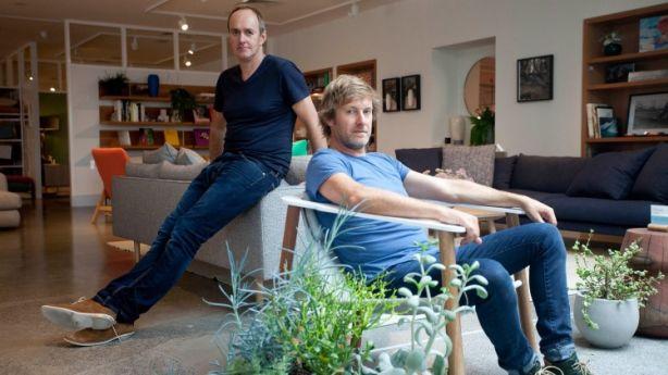 Brothers Mike Garnham and Nick Garnham in the flagship showroom of Jardan Furniture. Photo: Arsineh Houspian