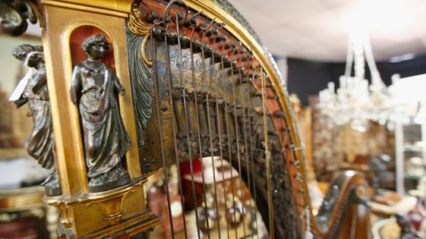 Lot 295 - A French Harp at a French furniture option at Christian McCann auctions, Richmond, Victoria. Photo: Darrian Traynor