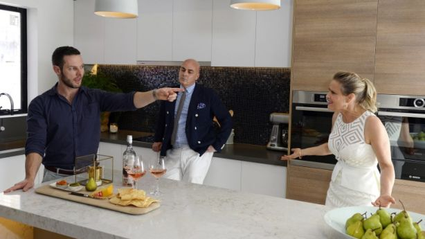 Shaynna Blzae and fellow judges Neale Whitaker and Darren Palmer judging Darren and Dea's kitchen on The Block Triple Threat. Photo: Martin Philbey