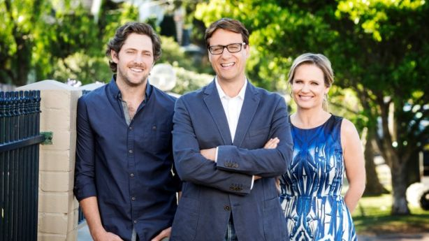 Shaynna (R) with fellow Selling Houses Australia hosts Andrew Winter (centre) and Charlie Albone (L).