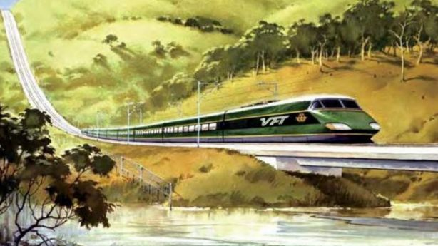 An artist's impression by Phil Belbin of the proposed VFT (Very Fast Train) in the 1980s. Photo: Source: Comeng - A History of Commonwealth Engineering.