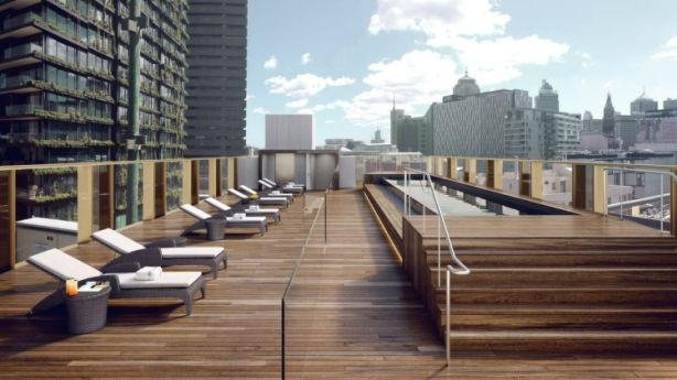 An artist's impression of rooftop pool and bar at The Old Clare Hotel.
