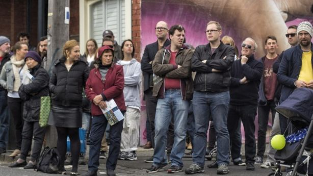A crowd of about 180 attended the auction of 167 Moor Street, Fitzroy. Photo: Luis Ascui