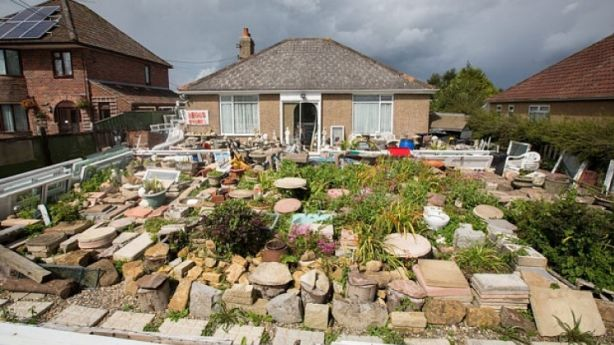 General view of Westland Bungalow (also known as Leggs Stores or Westend Stores), home of hoarder Michael Legg. Photo: SWNS.com