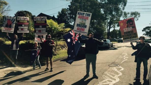 A small group of protesters at an auction in Sydney's Chatswood on Saturday. Photo: Supplied