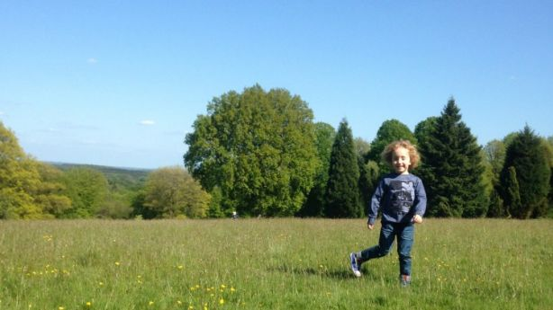 The grass is greener: Toby Jackel pictured in his mother's 'home' West Sussex in the UK.