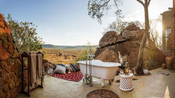 Madikwe Hills Private Game Lodge outdoor bathroom. Photo: Vanessa Lewis