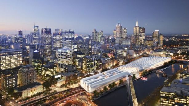Artist's impression of the winning design - by HASSELL + Herzog & de Meuron - of the Flinders Street Station redesign competition. Photo: Supplied
