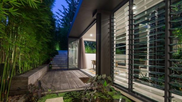 Floor-to-ceiling, commercial grade-framed windows and doors connect to serene outdoor spaces. Bamboo from Australian Native Landscapes. Photo: domain.com.au