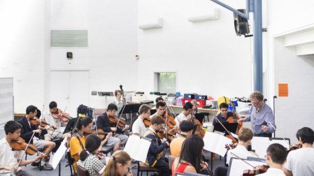 Students in the Balwyn High School orchestra rehearse. Photo: Josh Robenstone