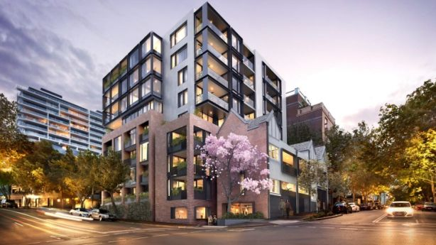 Artist's impression of The Hensley, Potts Point. The development  will involve retaining and updating the twin terrace facade of Hensley Hall and adding an eight-storey building to house 44 apartments. Photo: Supplied