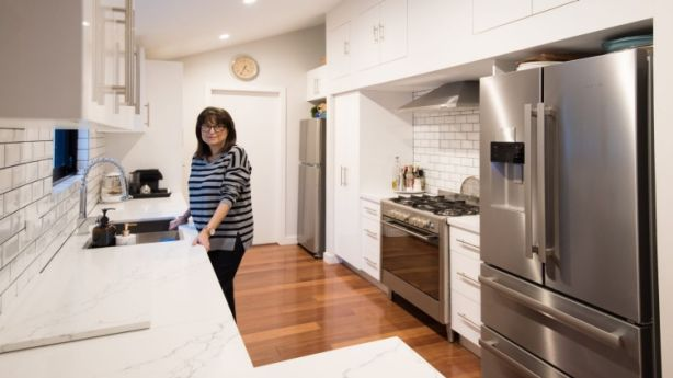Home owner Marie Bekiaris in her remodelled Bellevue Hill home at 87A Balfour Road. Photo: Wolter Peeters