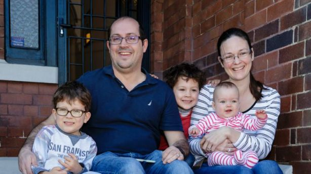 Ben and Fiona Stanic with Jack, 6, Angus, 4 and Annabelle, 1, at their new Annandale home. Photo: Brook Mitchell