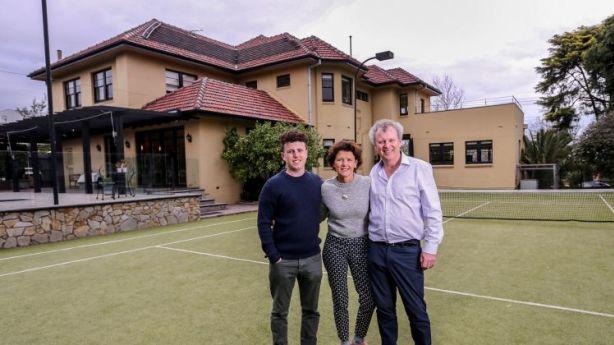 Liz Mardling and Richard O'Sullivan with son Tom at their art deco Armadale home. Photo: Wayne Taylor