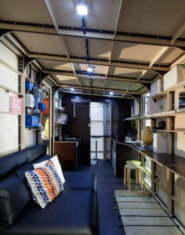 The modular home has a small kitchenette, a bathroom and a bed. Photo: Barton Taylor