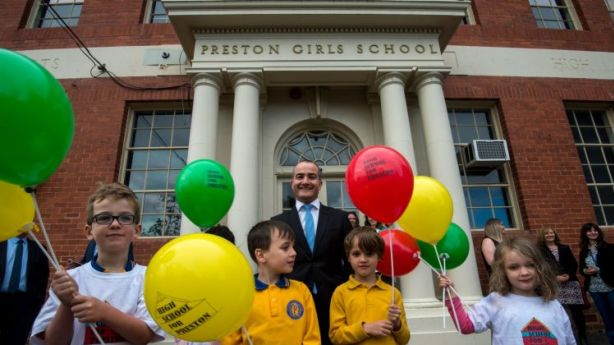 The Education Minister and Deputy Pemier James Merlino announcing that the old Preston Girls School will re-open as a High School for the Preston area. Photo: PENNY STEPHENS. The Age. 2ND NOVEMBER 2016 Photo: Penny Stephens