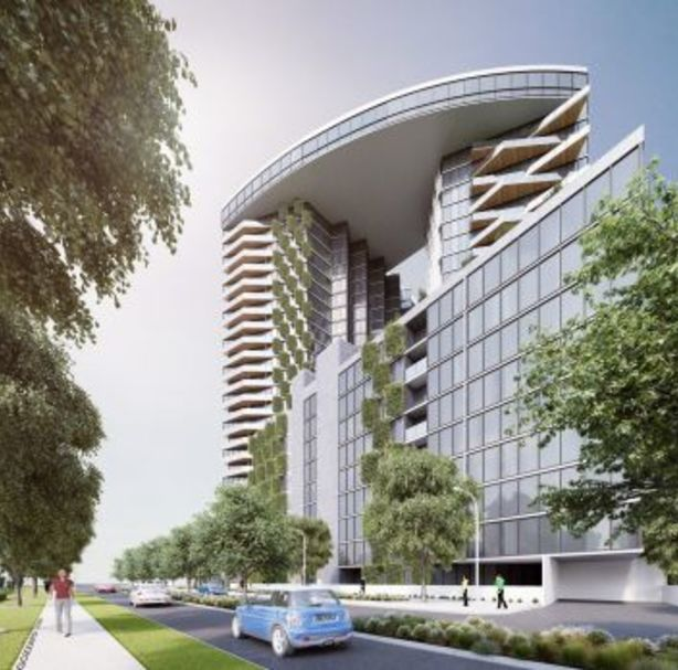 An artist's impression of the two 26-storey towers and one eight-storey building. Photo: Nathan Gibson Judd Architect