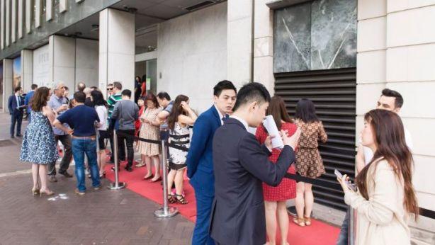 Buyers queue up ahead of the launch of the Opera Residences development at Circular Quay. Photo: Esteban La Tessa