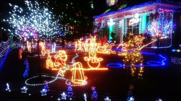 The front lawn of 36 Madrers Avenue, Kogarah, which is lit up this year - Where To Find Christmas Lights Around Sydney
