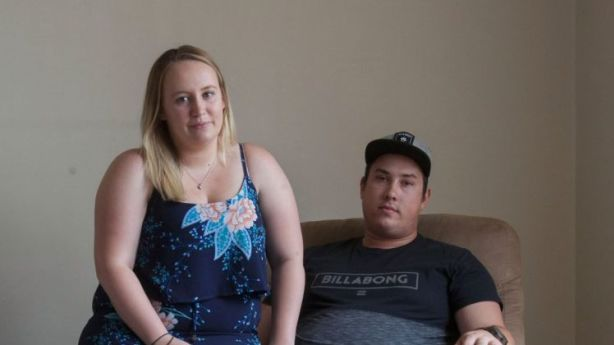 The couple is finding it hard to save for a home on their household income of $95,000 a year, while spending $380 a week on rent in Colyton. Photo: Fiona Morris