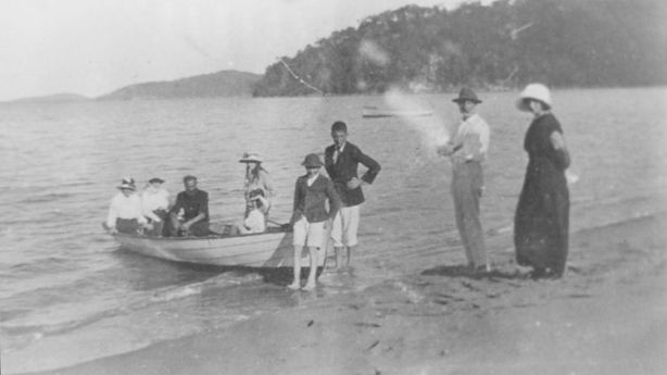 A day at Mackerel Beach in 1919. The little-known village is opposite Palm Beach and has a permanent population of about 40. Photo: Yewen Family (Northern Beaches Council)