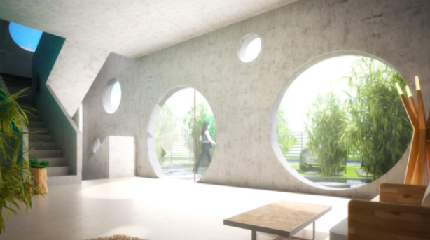 The house is surrounded by a shallow pool with water plants and stepping stones all arranged according to the principles of Feng Shui. Photo: MVRDV (artists impression)