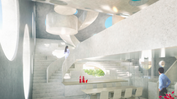 In the stem of the Y are the master bedroom and ensuite, two children's rooms and a guest bedroom. Photo: MVRDV