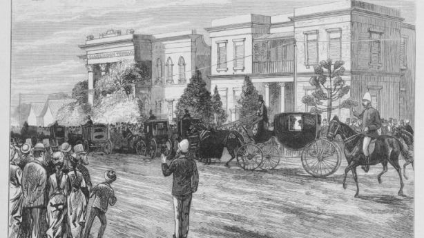 This 1880 sketch shows Valetta House at the time of Sir Redmond Barry's funeral. In an intriguing turn, he died just days after sentencing Ned Kelly to death. Photo: Courtesy of East Melbourne Group