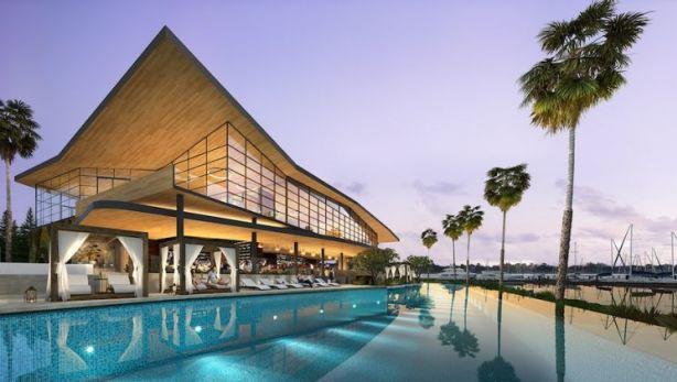 The Pullman Hotel pool at Trinity Point, Lake Macquarie Photo: Artist's impression