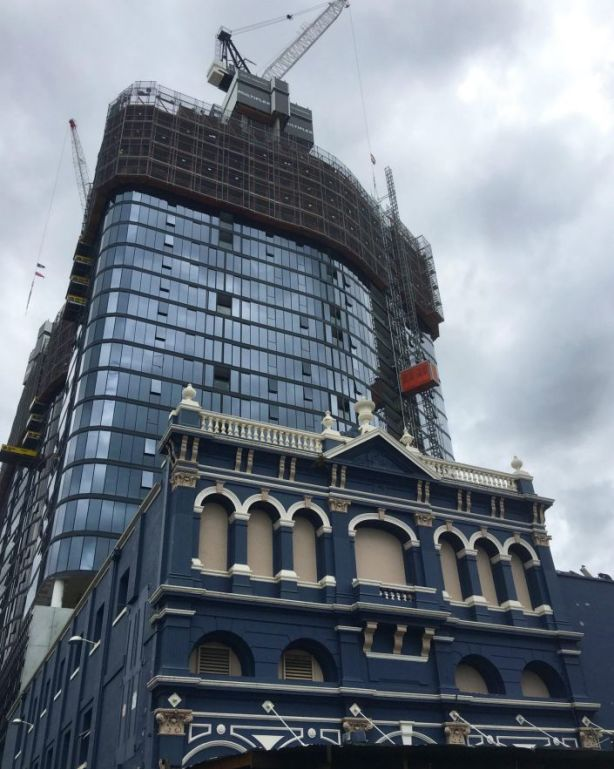 Demolition last week began on Brunswick St for the site to be occupied by the third tower. Photo: Wendy Hughes