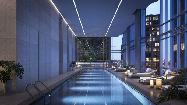 If buyers at 565 Broome Street can't afford a private pool, they can always rely on the communal indoor pool. Photo: Noe & Associates with The Boundary.