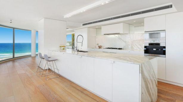 The kitchen at 602/152 Campbell Parade, Bondi Beach.