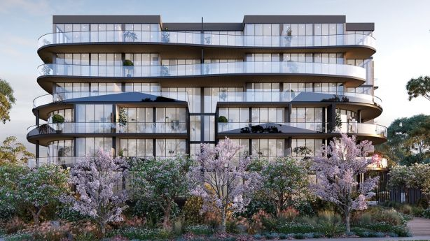 Eden Sq, apartment tower in Ringwood. Photo: Marshall White Projects