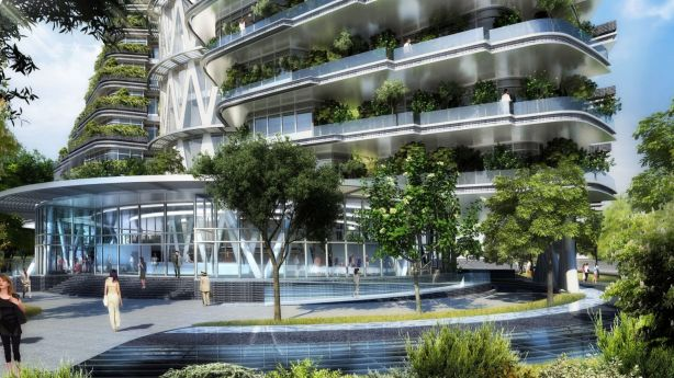 The development will feature 23,000 trees and shrubs so it can absorb 130 tonnes of carbon dioxide each year. Photo: Vincent Callebaut