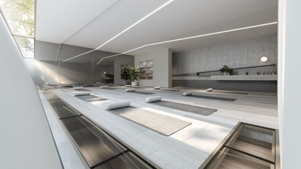 Artist's impression of the yoga studio in Eden SQ. Photo: Marshall White Projects