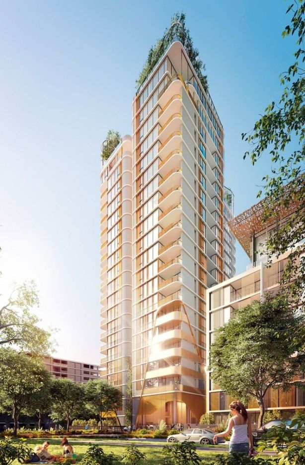 Waterfall will comprise of a high-rise tower and three seven-storey buildings. Image: Artist's impression