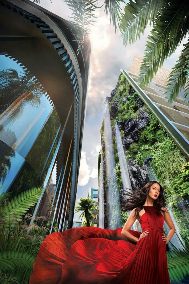 A seven-storey-high waterfall on the side of one building will be the biggest in Australia. Image: Artist's impression