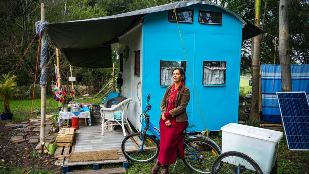More than two years ago, Nemeth ditched her job, rental house, car and bank account and built a shack on a friend's farm. Photo: Kim Luthi