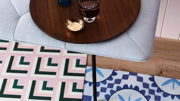 Vinyl rugs from Bonnie and Neil x Byzantine Design.