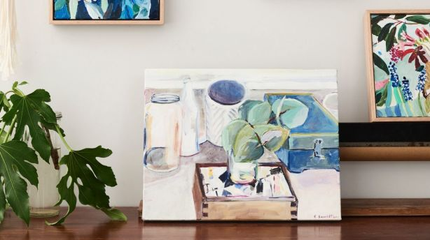 Paintings framed and works-in-progress in the studio. Photo: Eve Wilson. Production: Lucy Feagins/The Design Files