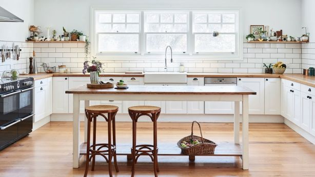 Elizabeth's farmhouse kitchen. Cabinetry details and island table by Aaron Pitt, and stools from Gumtree. Photo: Eve Wilson. Production: Lucy Feagins/The Design Files