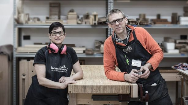 Carol and Stuart Faulkner from Heartwood Creative Woodworking teach daytime and evening woodworking classes and they need to be located within industrial zoning. Photo: Paul Jones