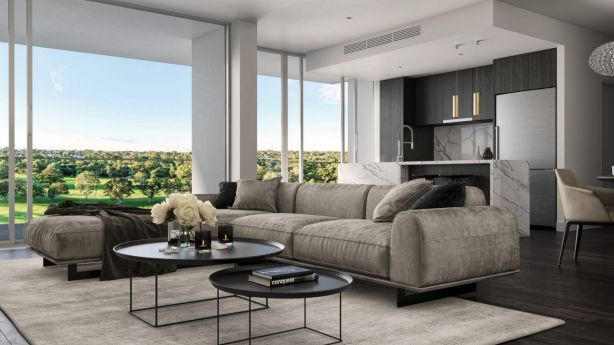 Most of the apartments have a northern aspect, allowing them to capture natural light and golf course views. Photo: Artist's impression