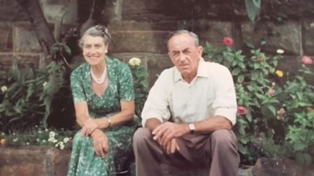 Simon Spencer's grandparents at the house in the 1950s. Photo: Supplied
