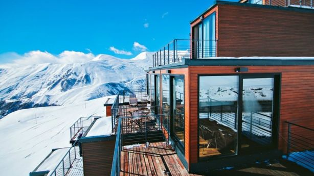 The resort was built from 20 repurposed shipping containers. Photo: Quadrum Ski and Yoga Resort