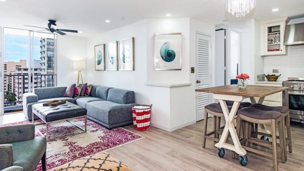 Galea and her partner, Keli'i, work together buying and renovating apartments in hotspot Waikiki. This is one of their projects.